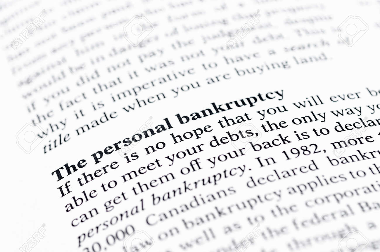 personal bankruptcy definition and statement stock photo, picture