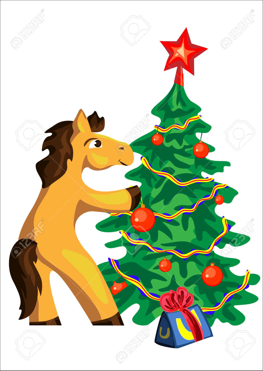 Christmas Horse Cartoon.Cartoon Horse With Christmas Tree