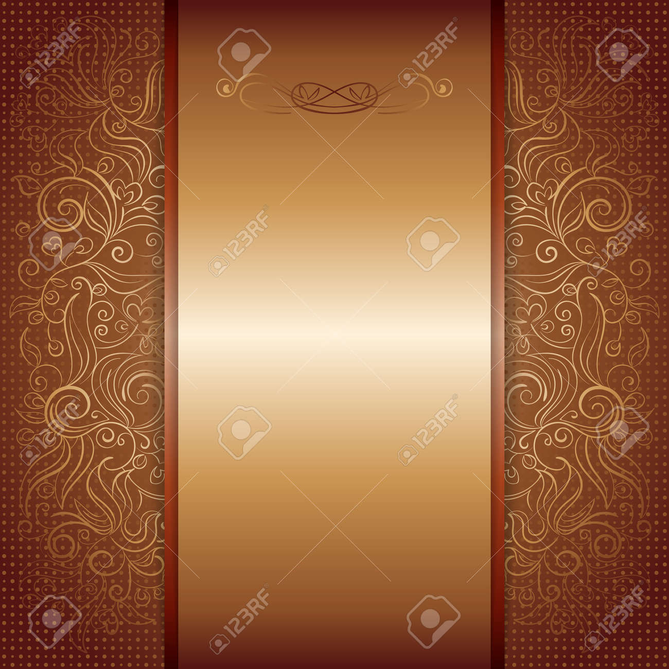 Brown With Gold Damask Pattern Royal Invitation Card Royalty Free