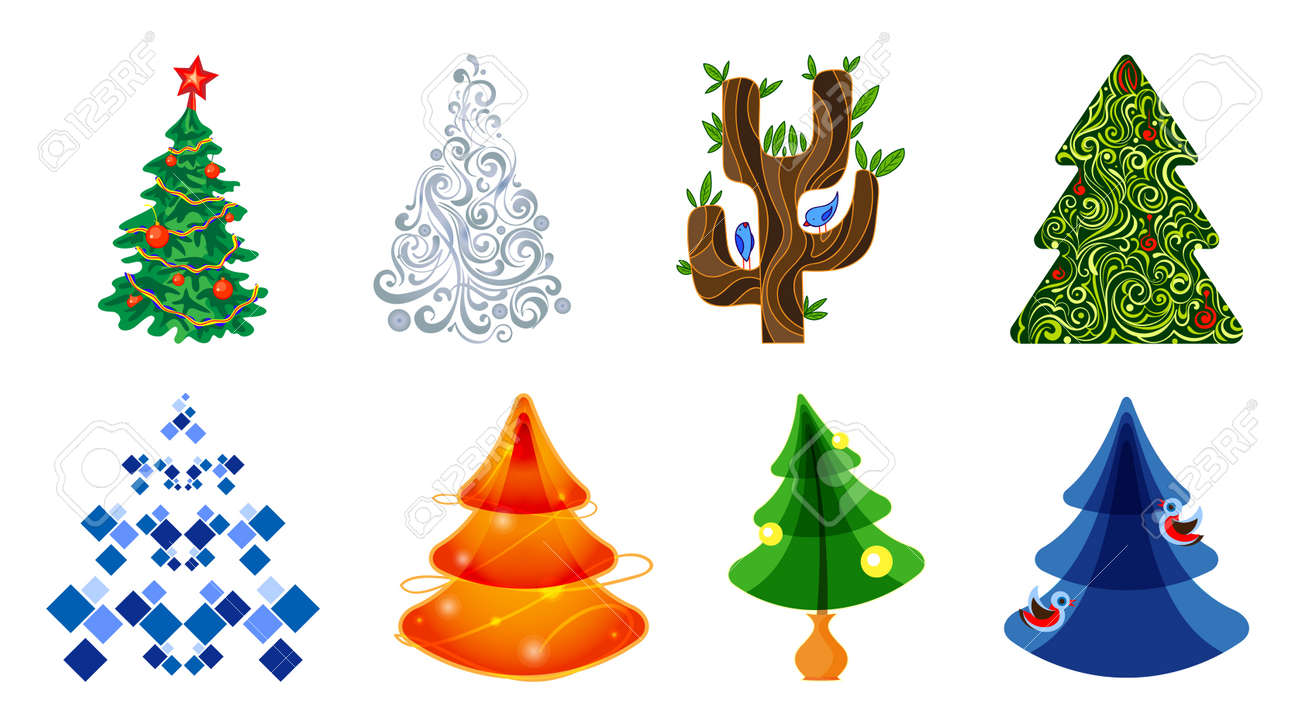 Christmas Tree Icons.Set Of Icons Of Christmas Trees In Different Styles Firs And
