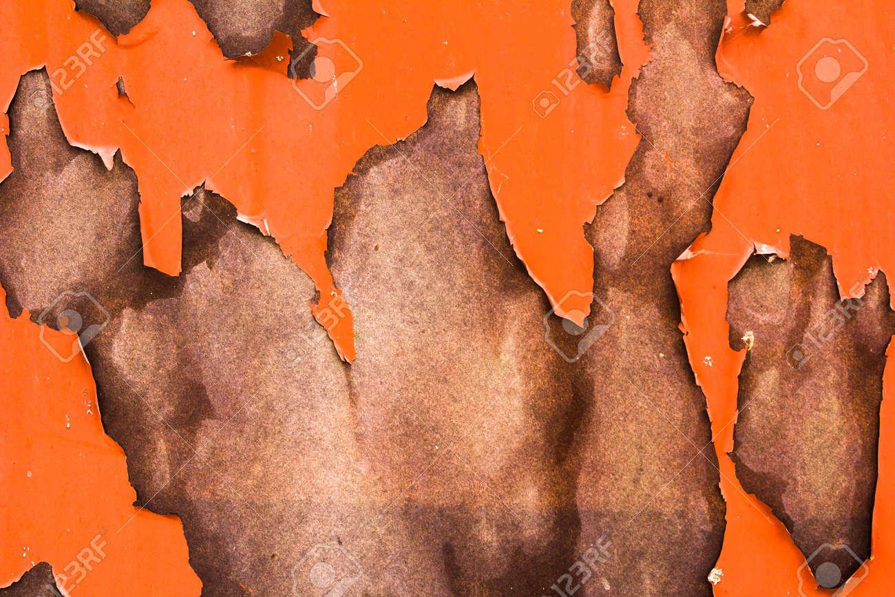 Orange Vieux Obsolète Fissuré Peinture Texture Mur Abstraite Surface De Peinture Abîmée Abstrait Fond Marron Clair Dans L Orientation Verticale
