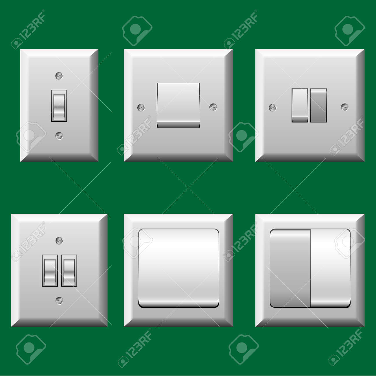 Different type light switch set stock vector 23885602