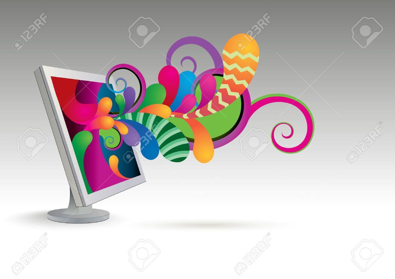 Fantastic abstraction leaving the monitor Stock Vector - 9718992