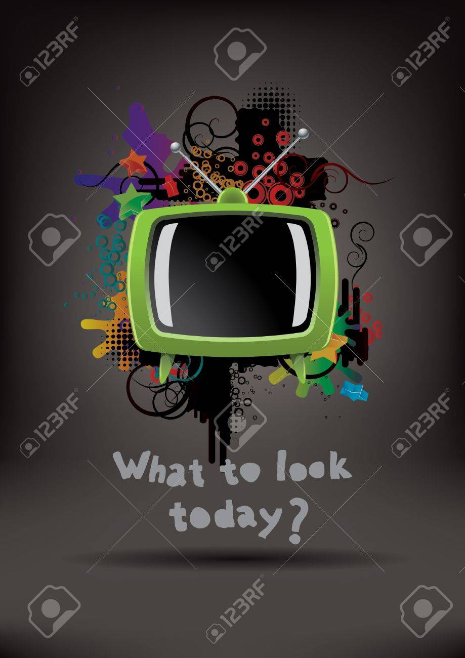 Abstract poster with the TV Stock Vector - 10014383