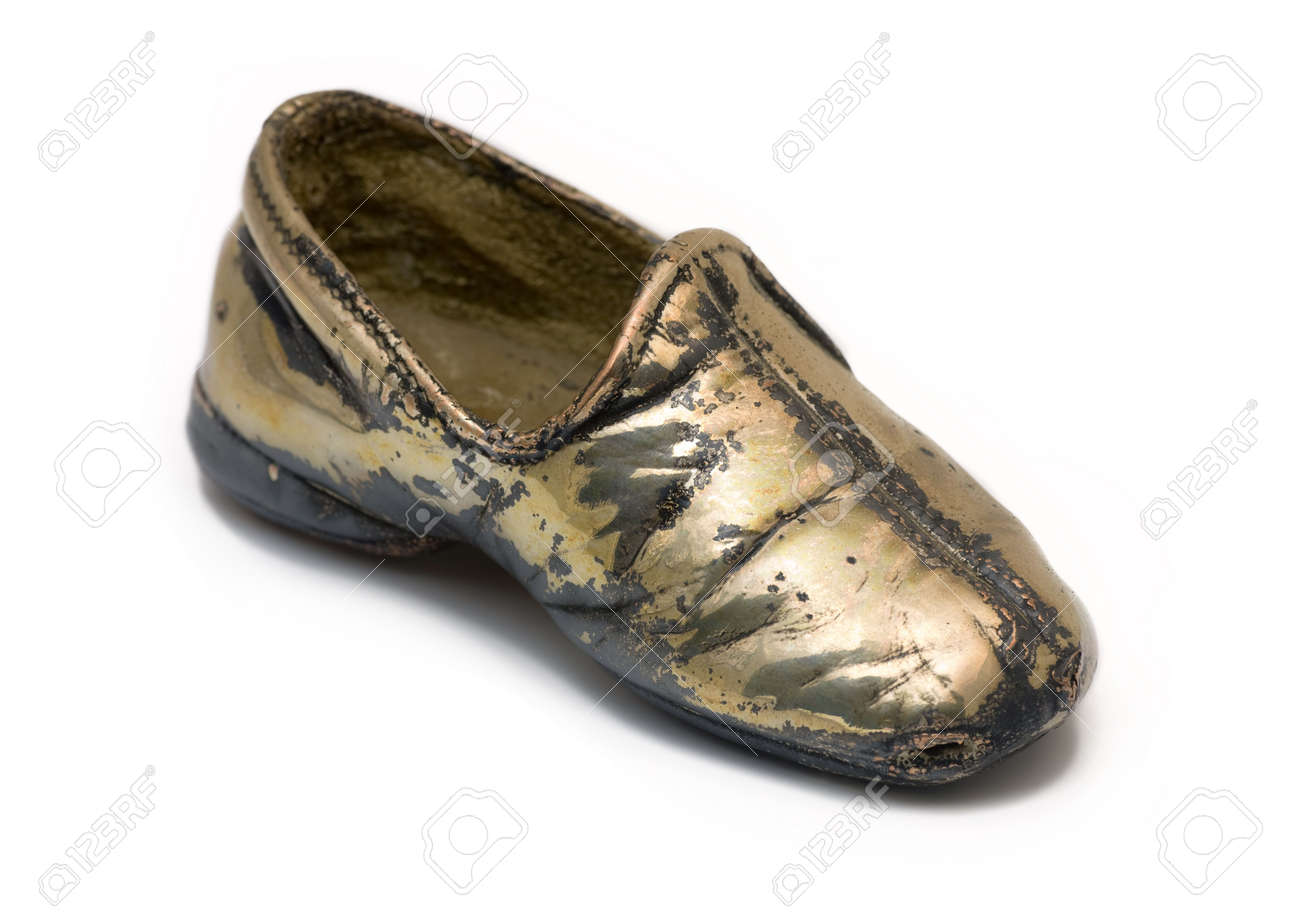 Baby Shoe Silver Plated Stock Photo