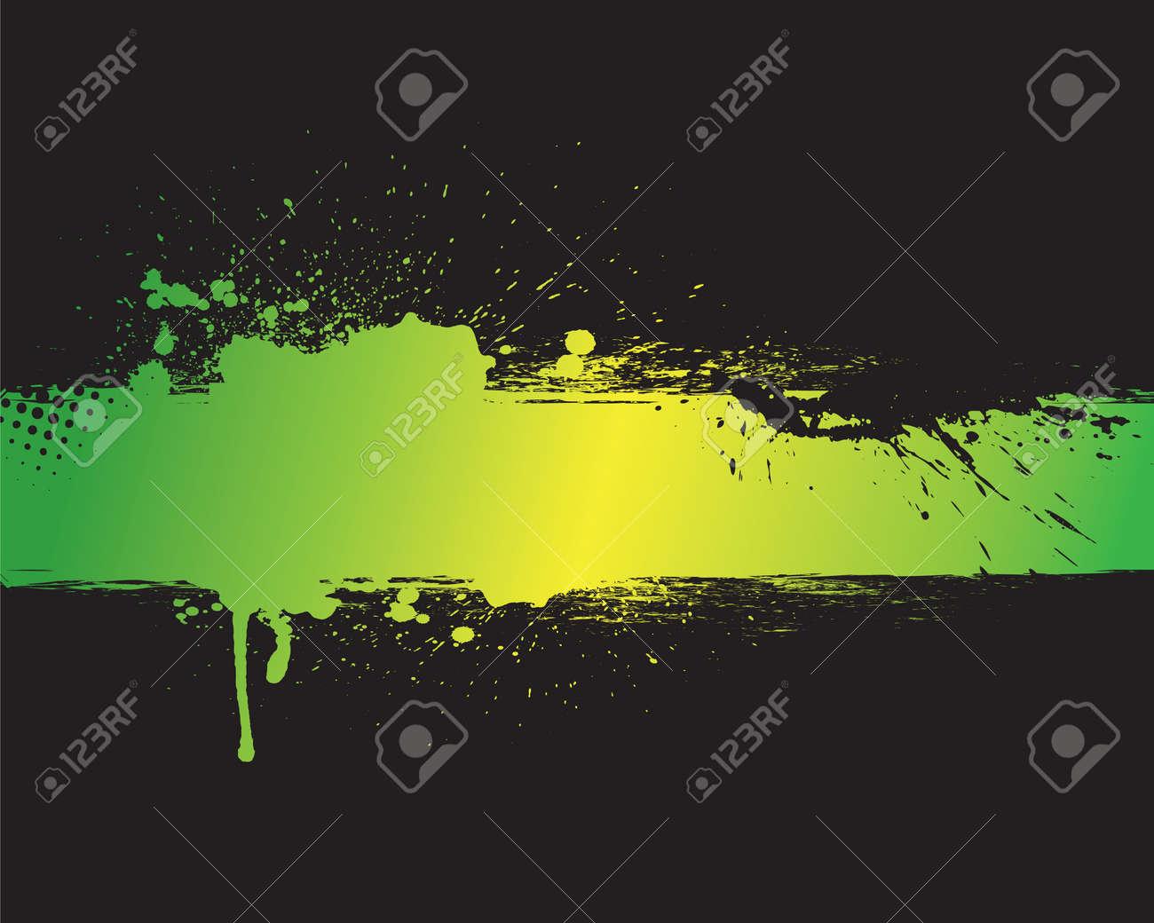 Connu Grunge Bannière Verte Avec Un Fond Noir Clip Art Libres De Droits  PK61