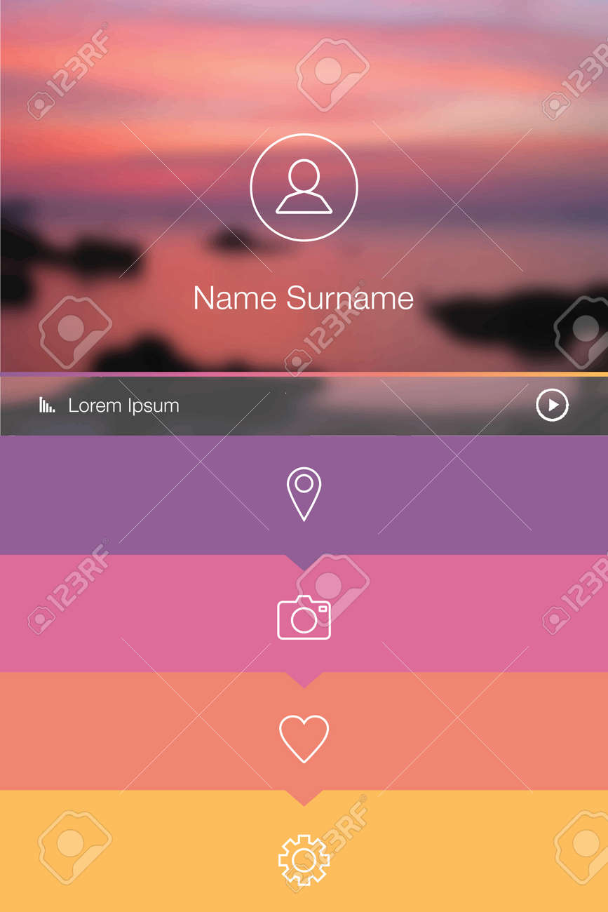 Flat Mobile / Web UI Concept, User Profile Template Royalty Free ...