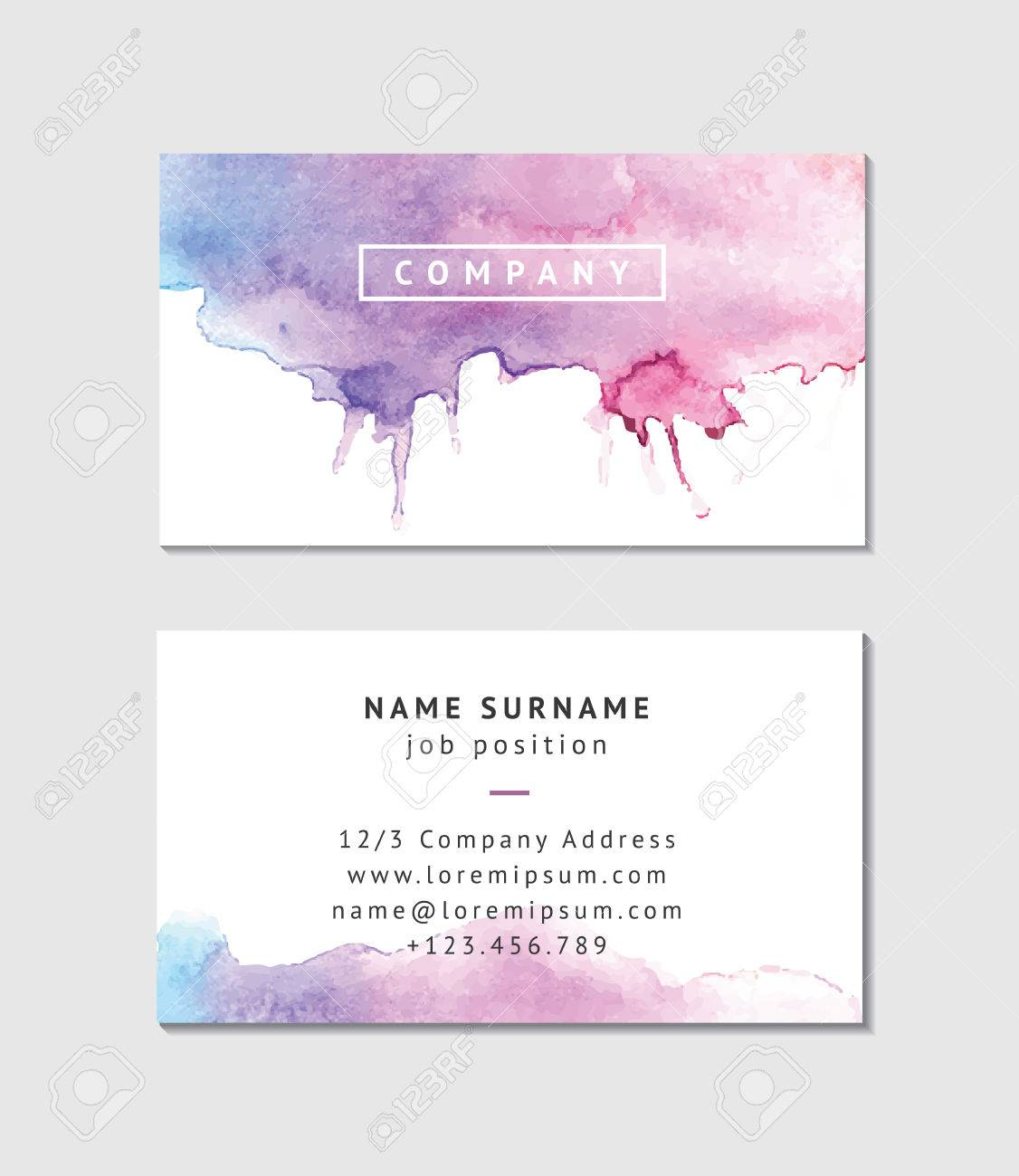 Watercolor Business Card Template Royalty Free Cliparts Vectors