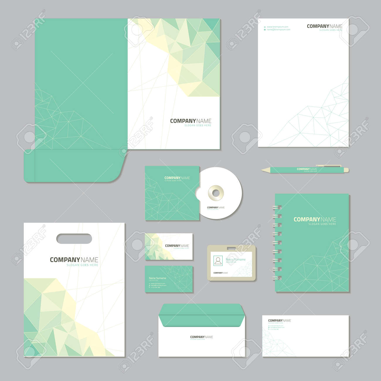 stationery template design corporate identity business set royalty
