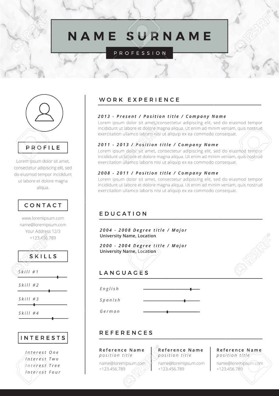 Resume Template With Marble Texture Royalty Free Cliparts Vectors