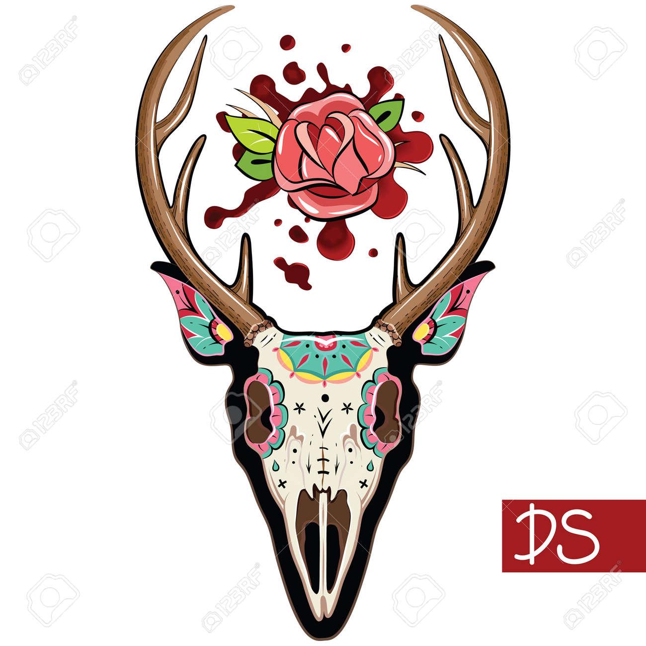 Deer Sugar Mexican Skull Deer Skull Vector Illustration