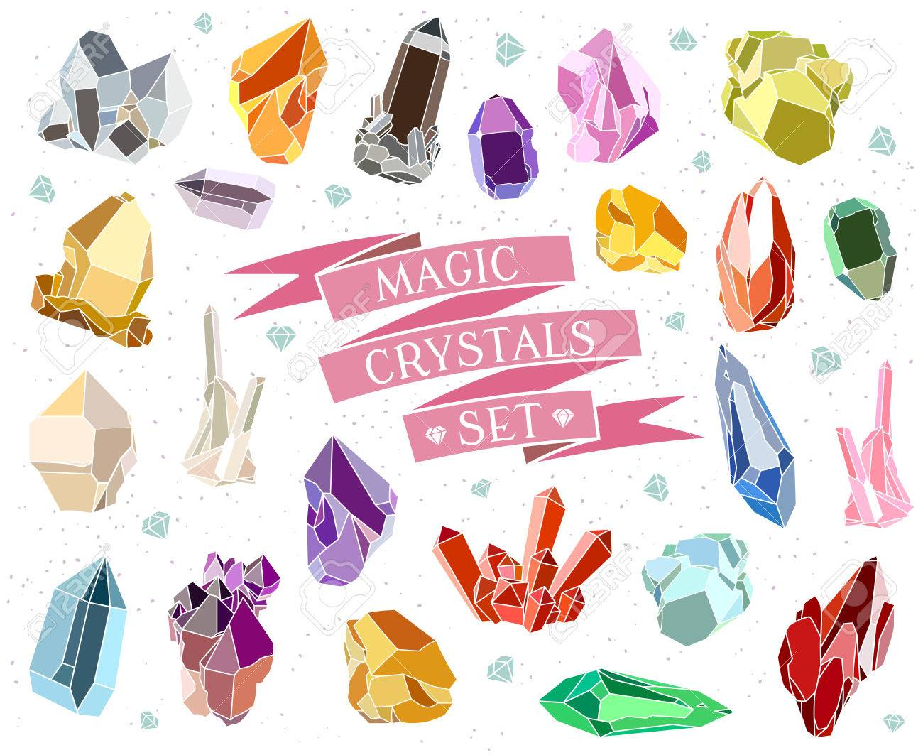 Crystals and stones Isolated Vector Set. Vector illustration - 62744808