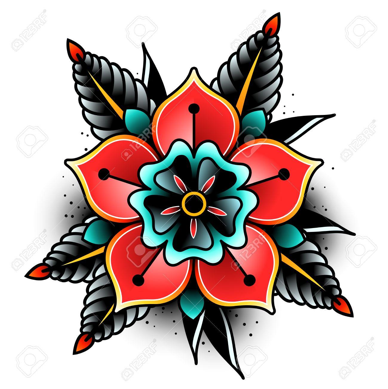 Flores Viejas De Arte Del Tatuaje De La Escuela Para El Diseño Y La
