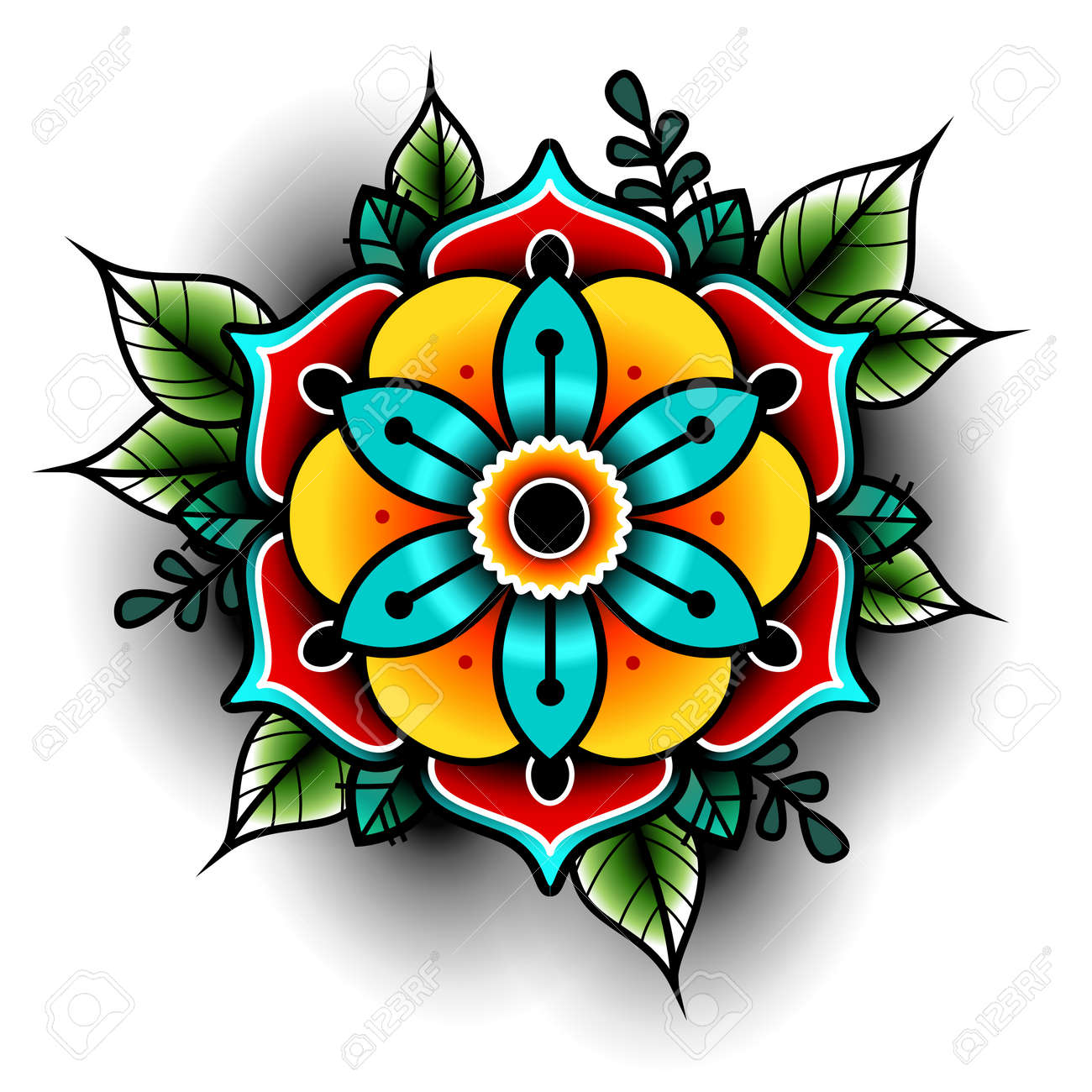 Old School Tattoo Flower Royalty Free Cliparts Vectors And Stock