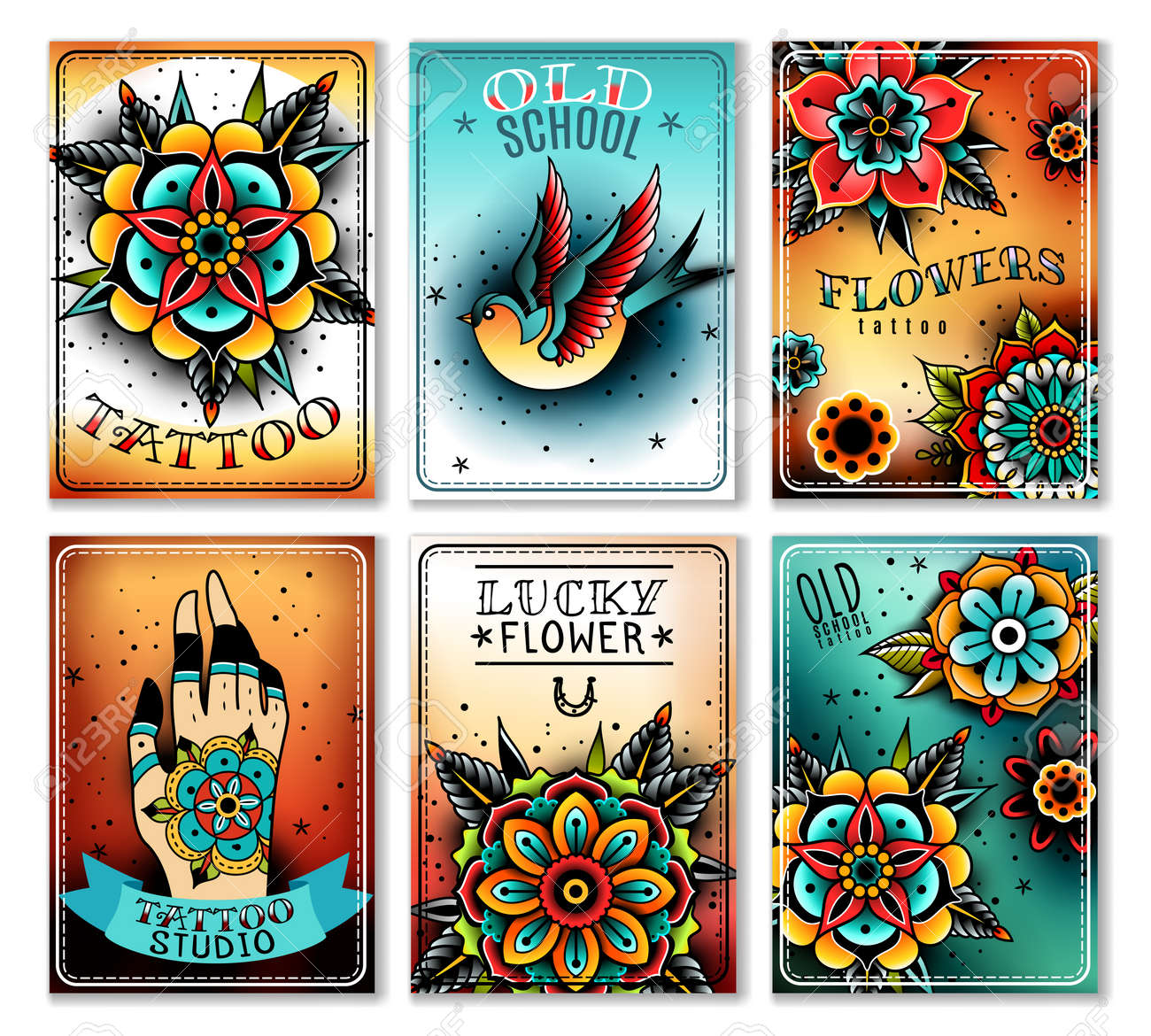 Old School Tattoo Art Flowers Mini Cards Banners Old School