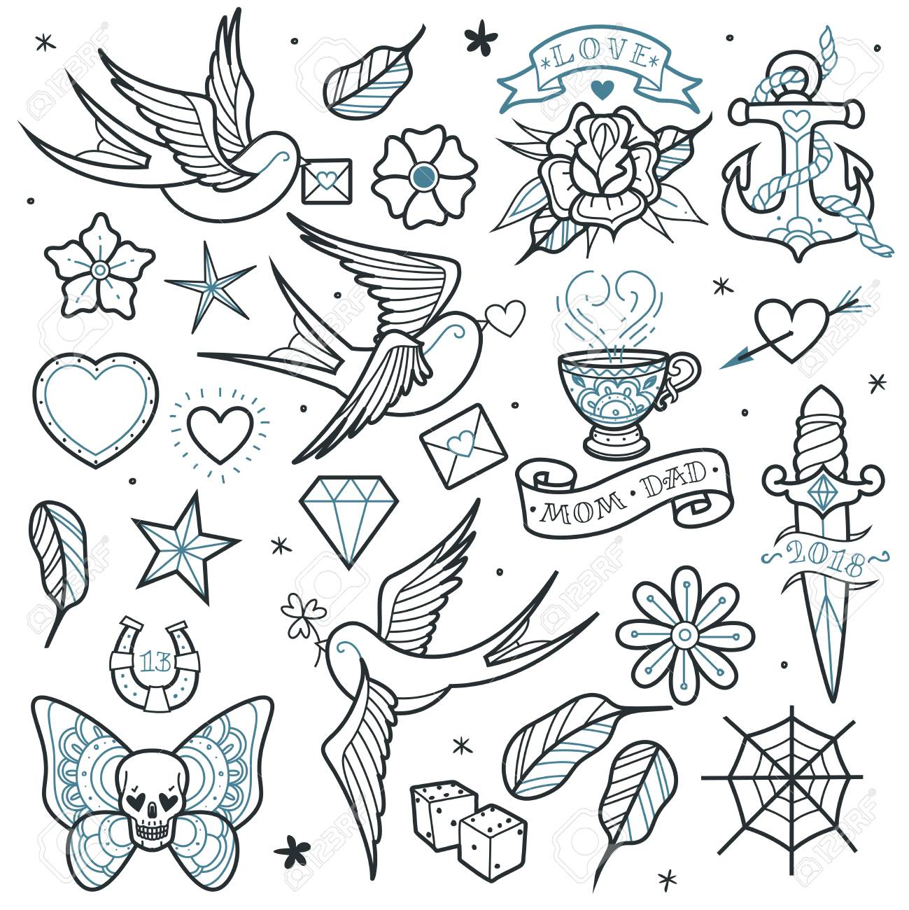 f88be7ad2df88 A large set of isolated outlines old school tattoo elements on a white  background Stock Vector