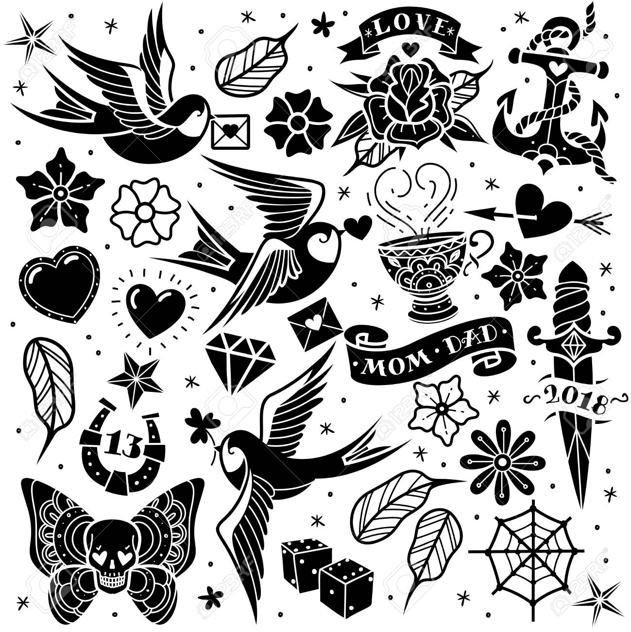 Black and white old school tattoo set on a white background. Vector  illustration Stock Vector