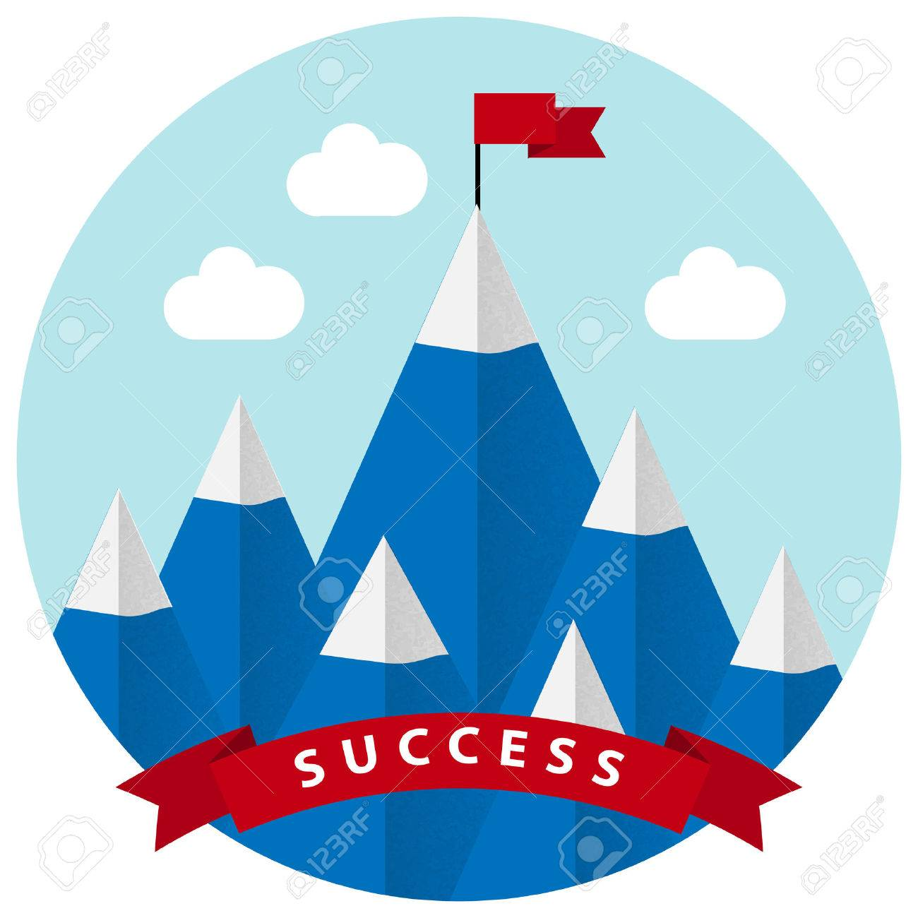 Flat design vector illustration of success and victory. High mountain, ribbon, clouds, red flag on the mountain peak, winning strategy. Achieving the goal, winning strategy with focus on results. - 35764343