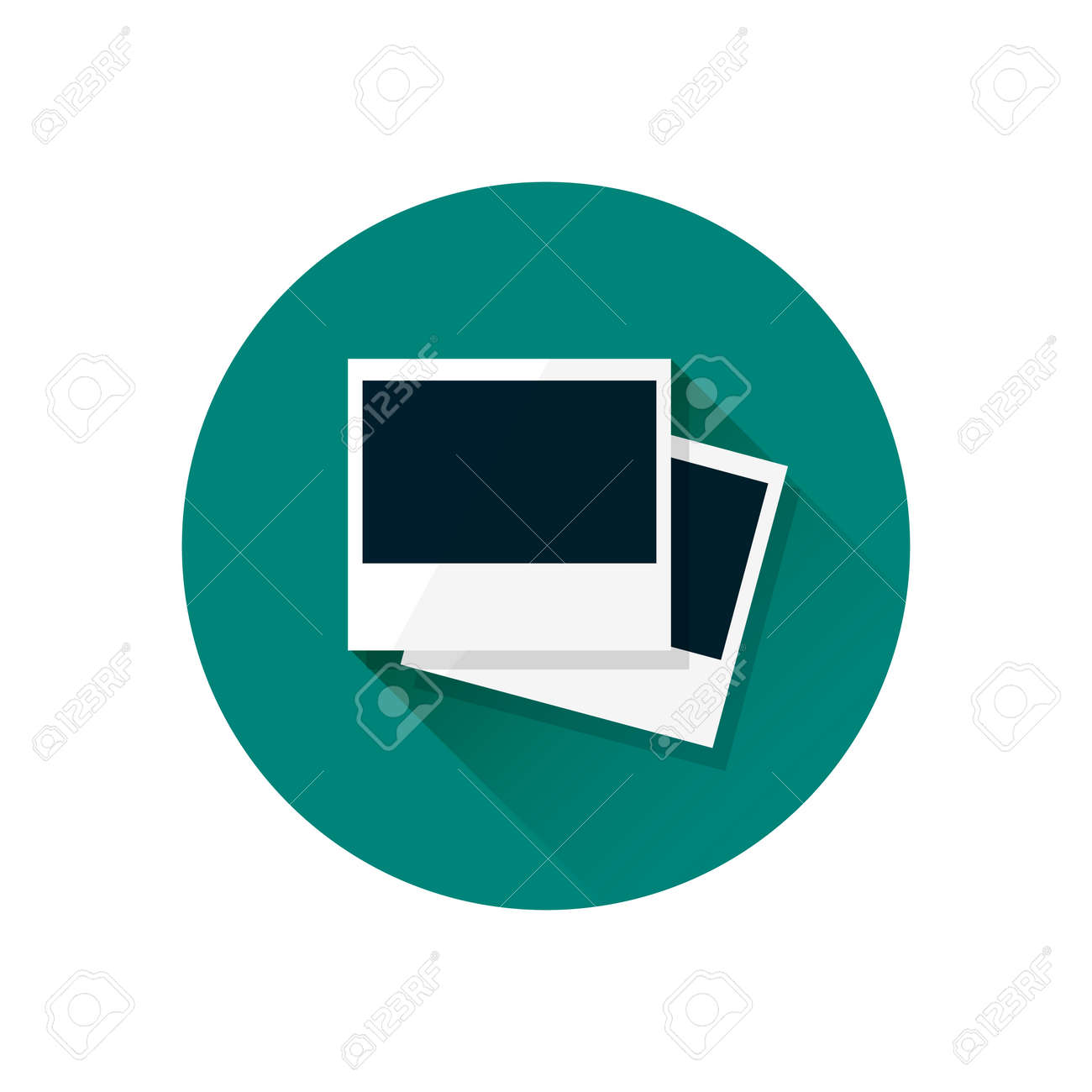 Blank retro polaroid photo frame illustration. Empty photo frames on green background. Modern flat design icon with long shadow effect in stylish colors. Icons for Web design and Mobile Application - 37830867