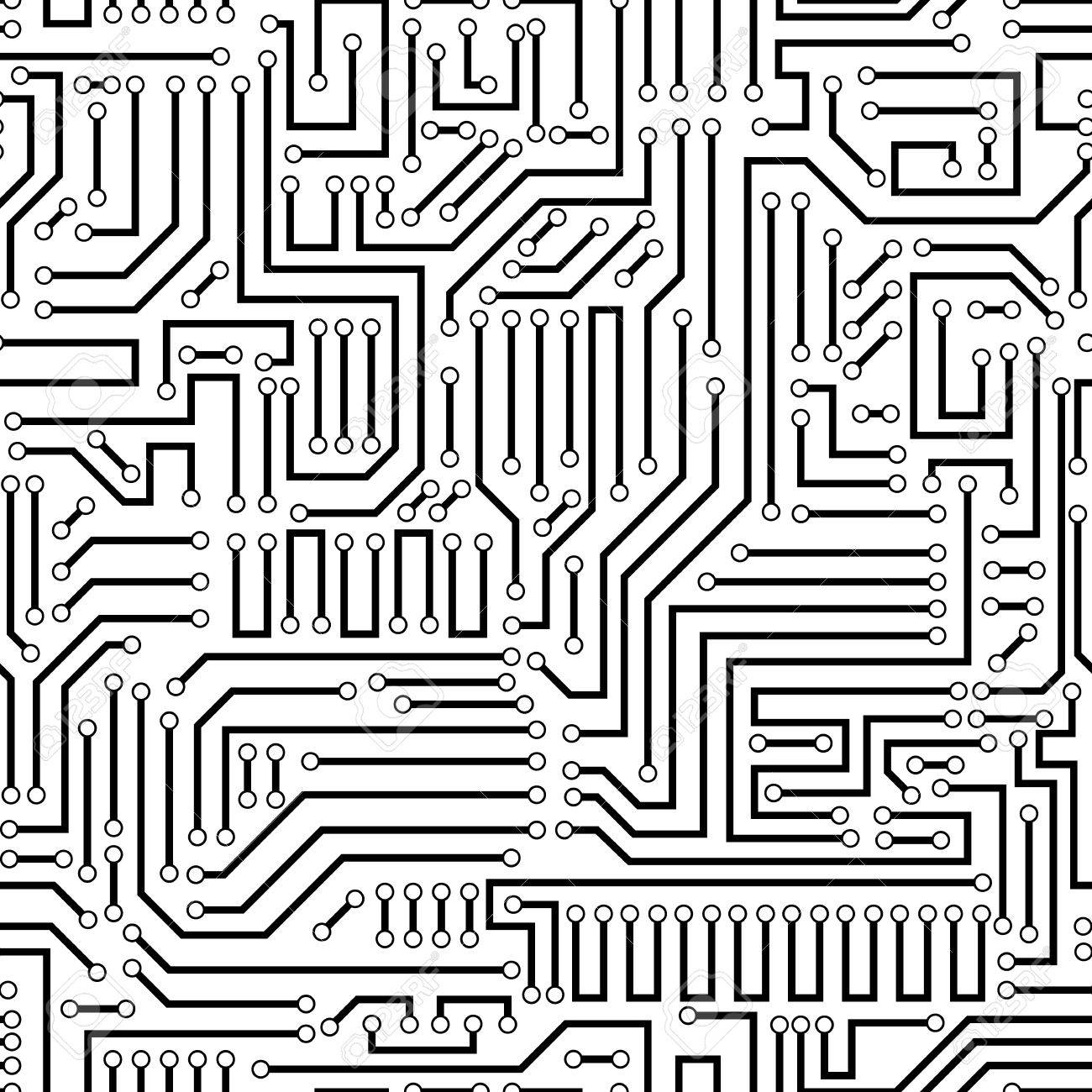 Printed circuit texture background. Seamless black and white electronic plate pattern vector. Circuit board vector illustration. Futuristic background. Electrical scheme. Technology seamless background with pattern in swatches - 38992828