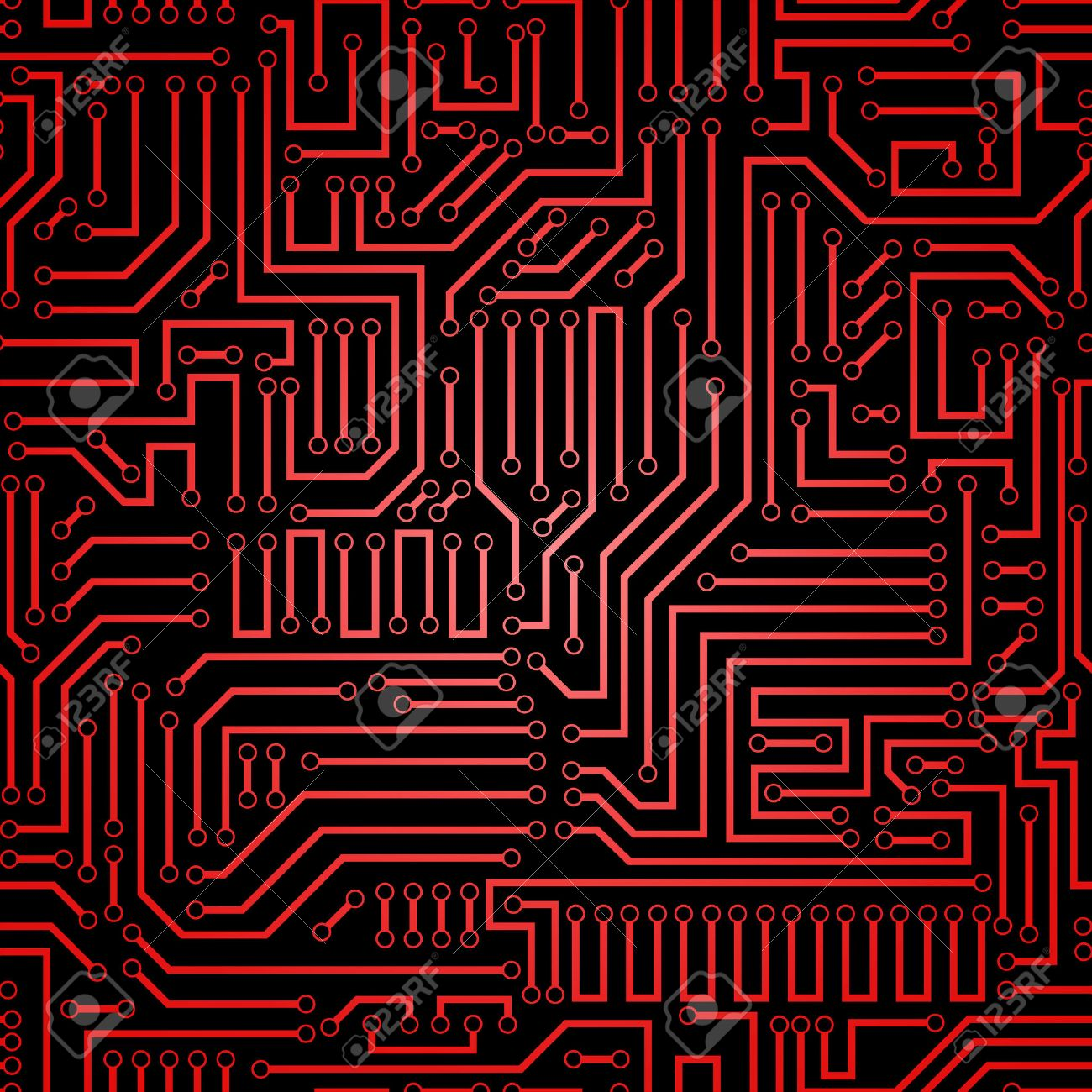 printed circuit texture background seamless red and black