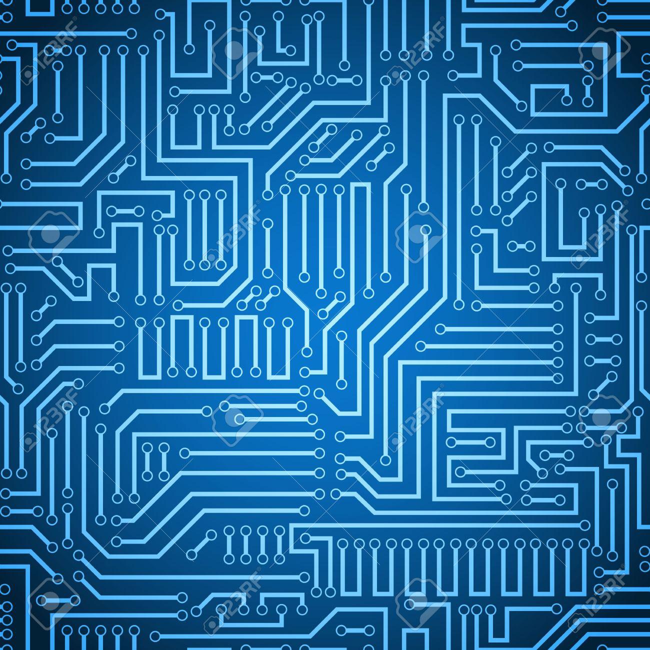 Schemi Elettrici Di Circuiti : Stampato texture di sfondo del circuito. blu senza soluzione di