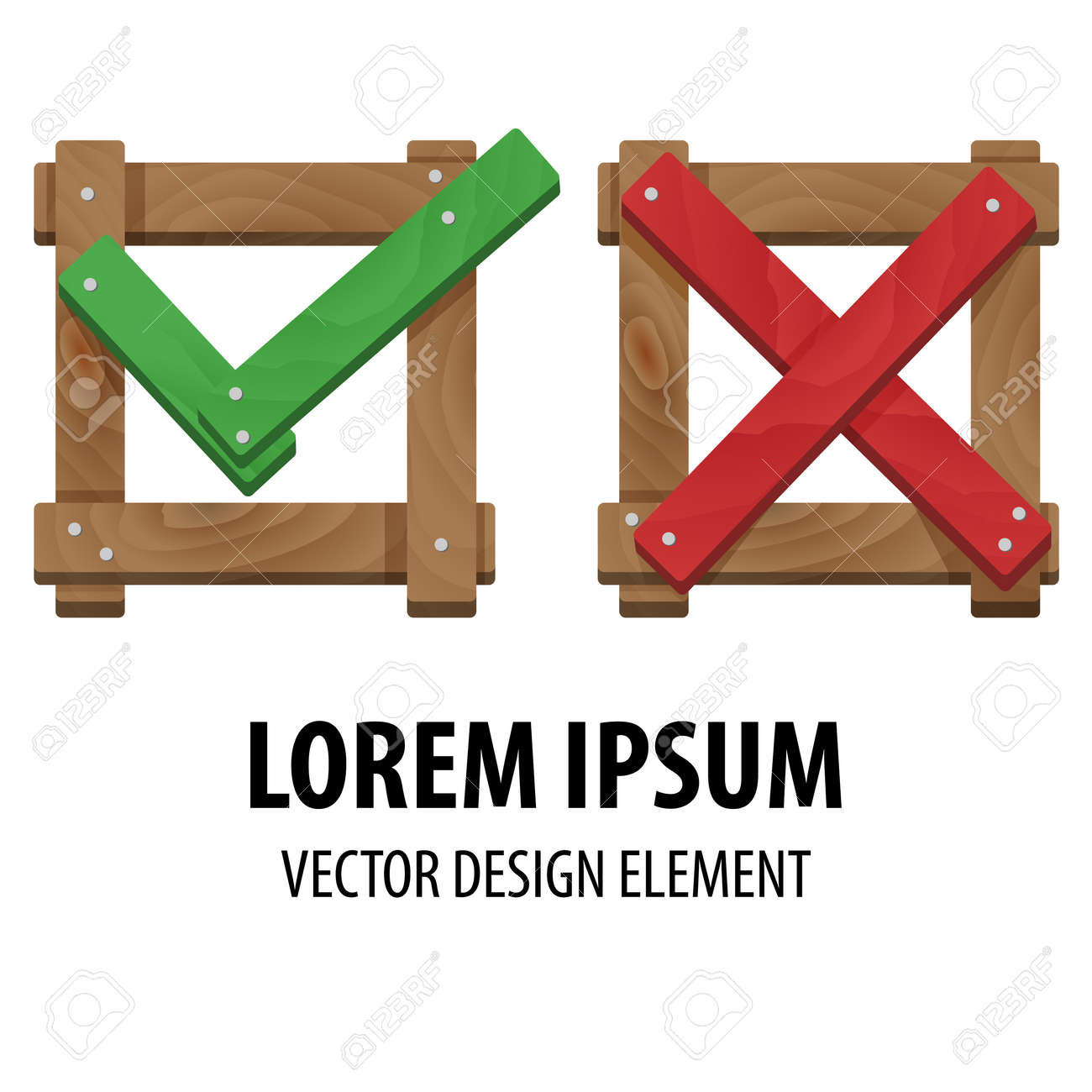 Yes or No icons. Wrong and right check marks made of wood. Check and cross mark. Vector illustration of positive and negative feedback concept. For web design and apps. - 40271603