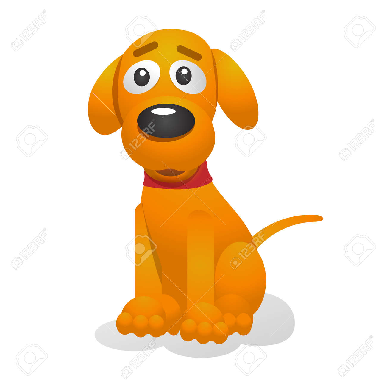 Cute puppy cartoon vector illustration. Yellow pup wearing a red collar sits. Isolated on white background. For web design and apps - 41034928