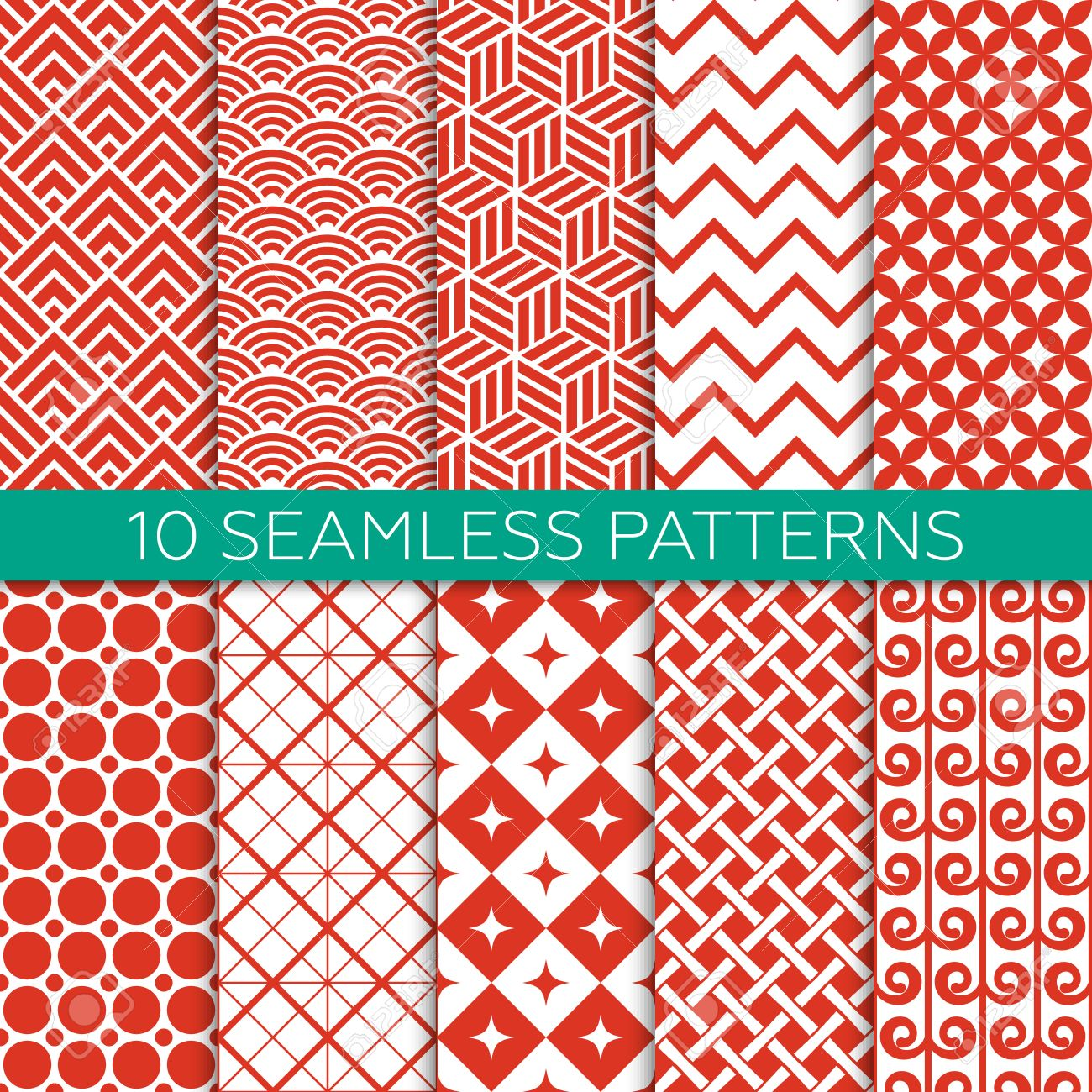 Set of red and white color geometric patterns. Monochrome design for fabric, wallpaper, web page background, scrap booking. Abstract ornament. Endless texture. Vector illustration. Swatches of seamless patterns included. - 48781627
