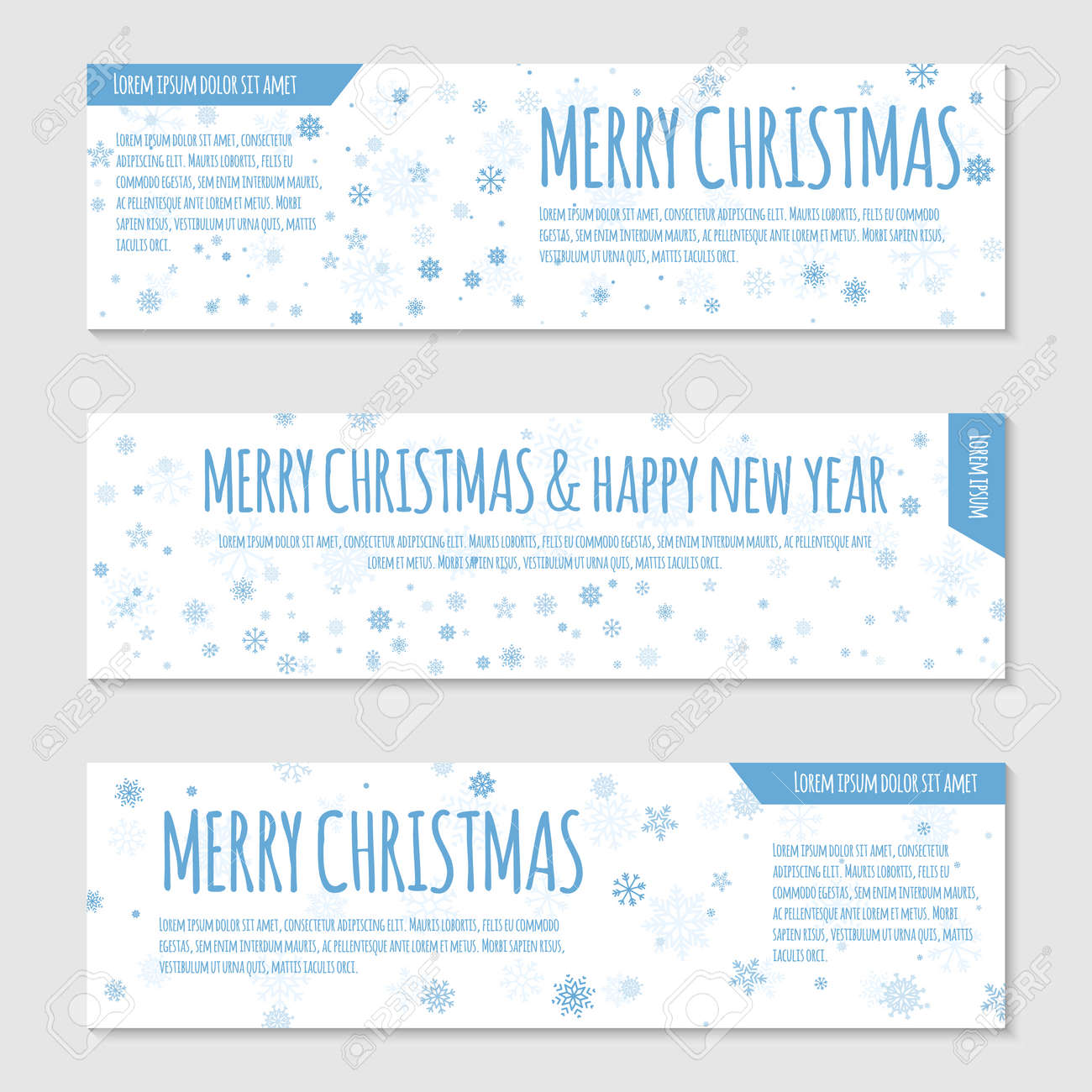Vector banner or flayer template. Blue snowflakes on white background. Can be used for web design, certificate, gift card, voucher, store, present, shopping, flyer, greeting - 48781634