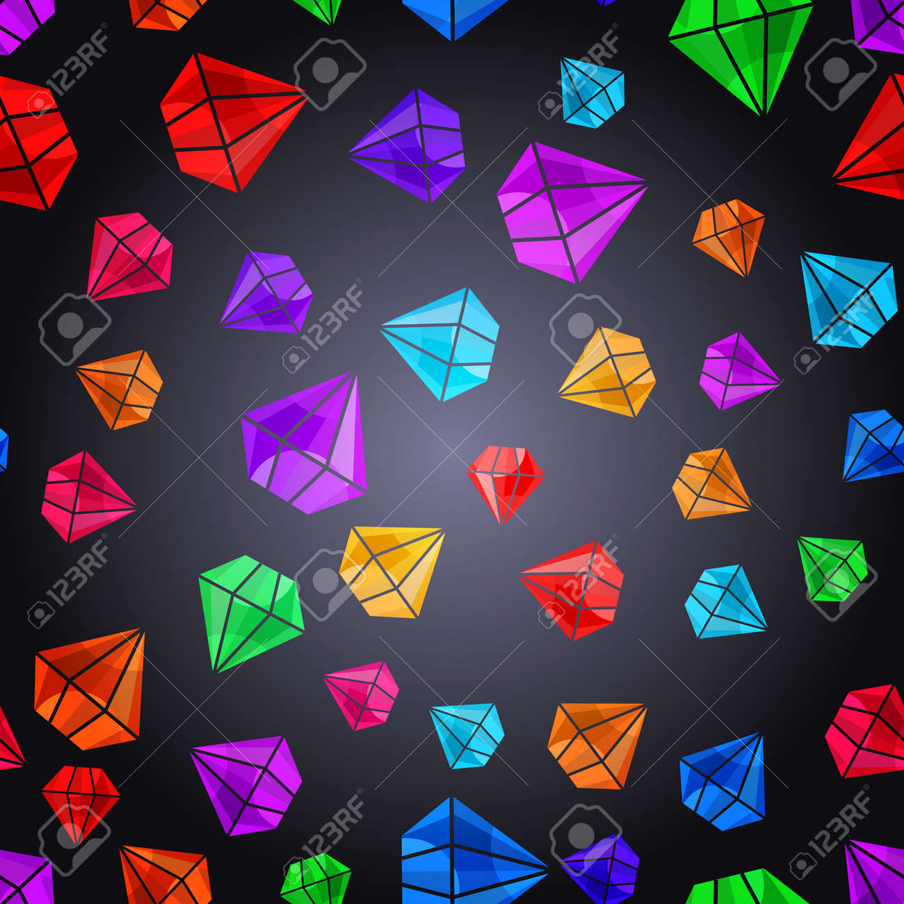 Vector abstract background with diamond crystals. Design element. Colorful jewel shapes. Vector illustration. Tiling texture for printing on textile, paper, can be used for web design as wallpaper. - 48781485
