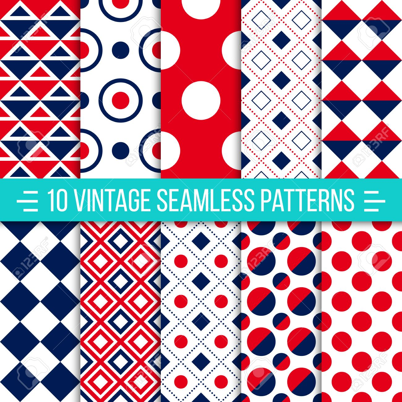 Set of 10 vintage vector seamless patterns. Retro geometric ornaments can be used for wallpaper, pattern fills, web page background. Red and dark blue color. Ideal for printing onto fabric and paper or scrap booking - 48781191