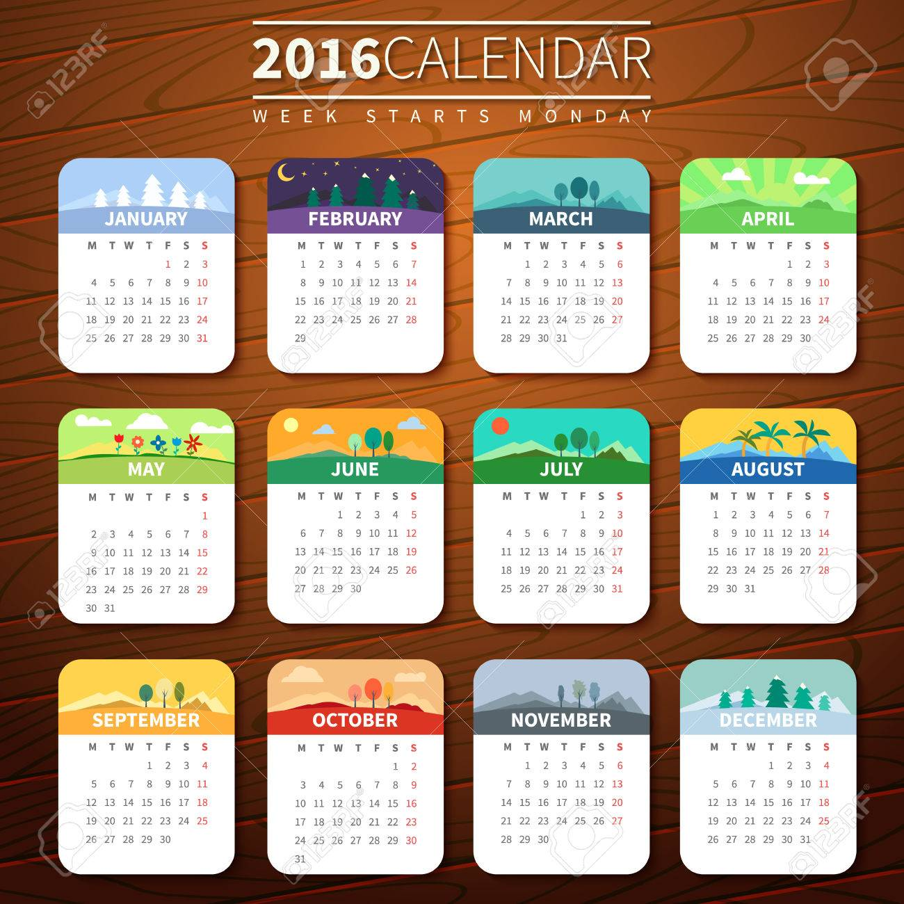 Calendar for 2016 on Wooden Background. Week Starts Monday. Vector Template with seasons. For web and print design. Vector illustration. Vertical orientation. Every month has own illustration or icon - 50264756
