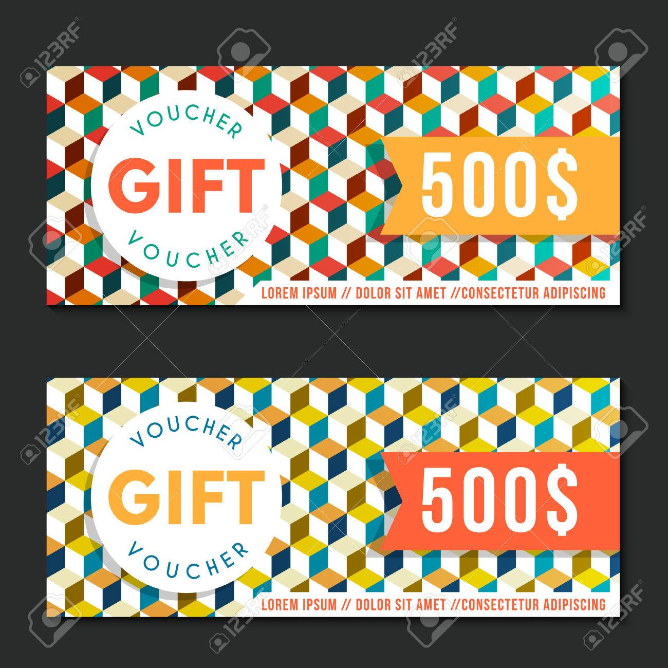 Voucher vector template with geometric pattern vintage style. For certificate, coupon, discount or gift card, banner, invitation, ticket, shopping card, customer sale and promotion, web design banner. - 50264766