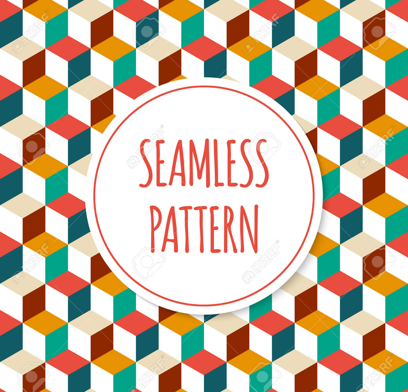 Seamless vector geometric pattern background with colorful cubes or squares. Pattern of geometric shapes. Retro style tile. Decorative background for cards, invitations, fabric, web design. - 50264767