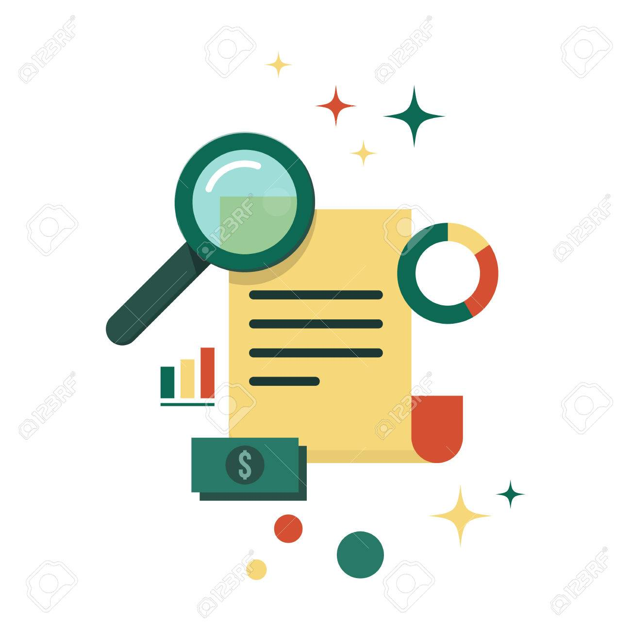 Vector illustration with magnifying glass, paper page or document, round diagram, finance graph, money. Business report. Education or business analytics concept icon isolated on white background - 50264768