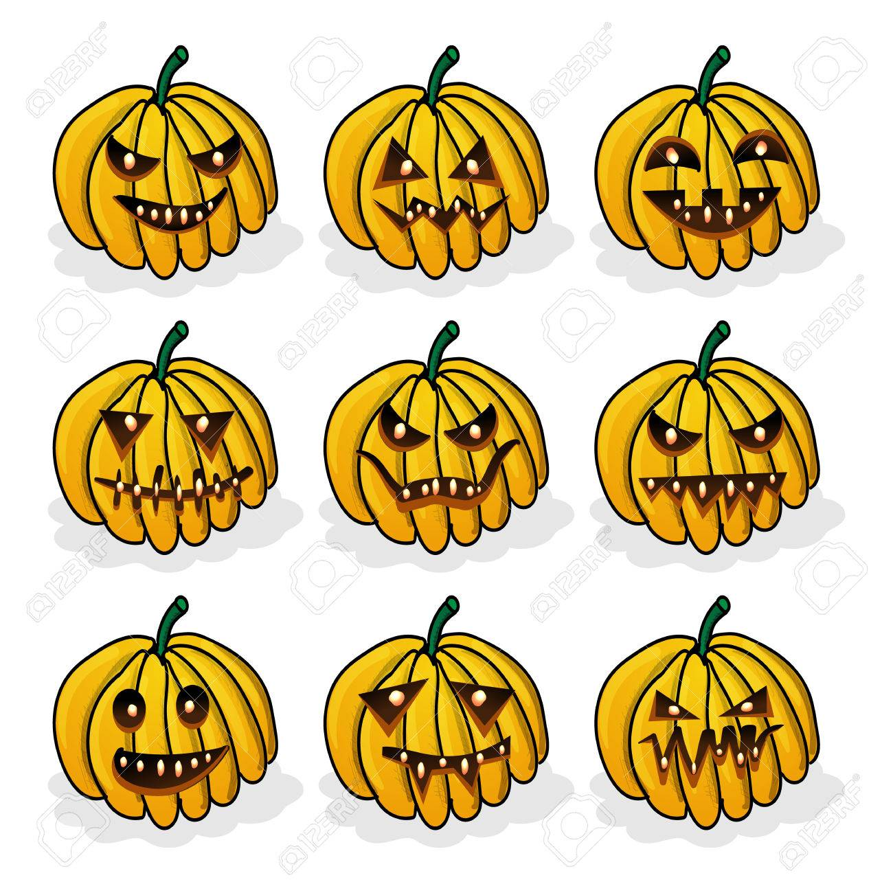 vector icons set with scary faces of halloween pumpkin. emotion