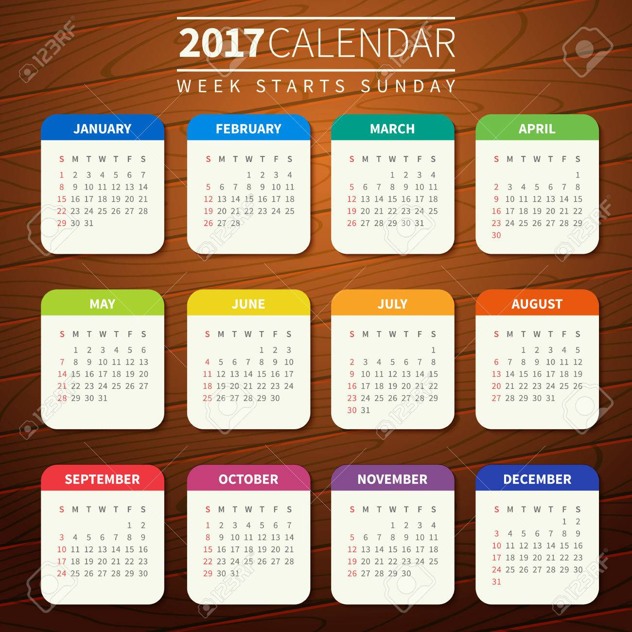 Calendar for 2017 on Wooden Background. Week Starts Sunday. Simple Vector Template. For web and print design. Vector illustration. Vertical orientation. Flat design color on wood texture - 66774687