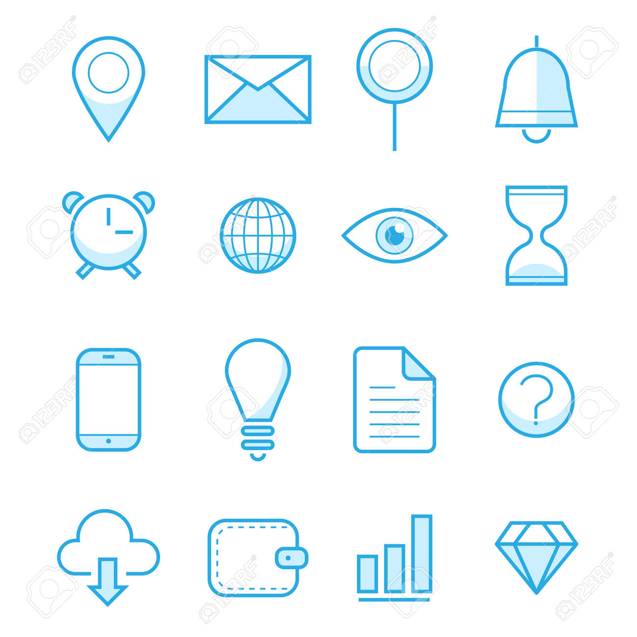 Vector illustration outline web icons set. Business, office work, financial growth, money, finance, management, payments, commerce, marketing. Corporate economic development. For internet and mobile apps, logo and graphics, web design. Thin line symbol co - 69126777