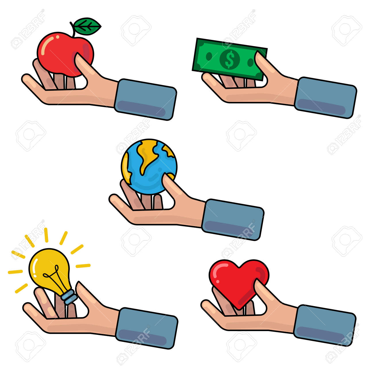 Vector outline illustration with hand holding or giving red apple, Earth globe, money banknote, light bulb, red heart symbol. Concept of investment, donation, crowdfunding, charity, contribution, support, philanthropy - 67176882