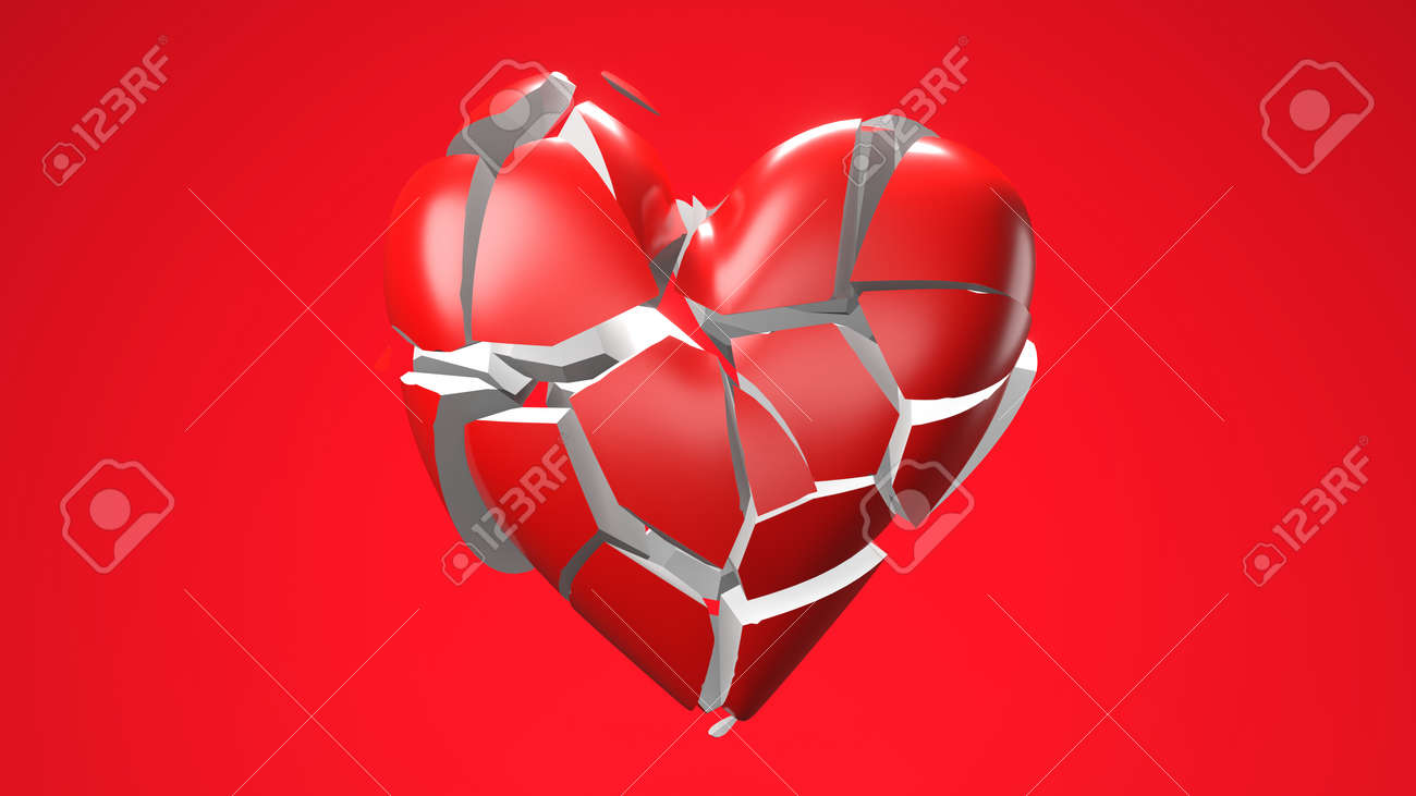 Red broken heart objects in red background. Heart shape object shattered into pieces. - 143997313