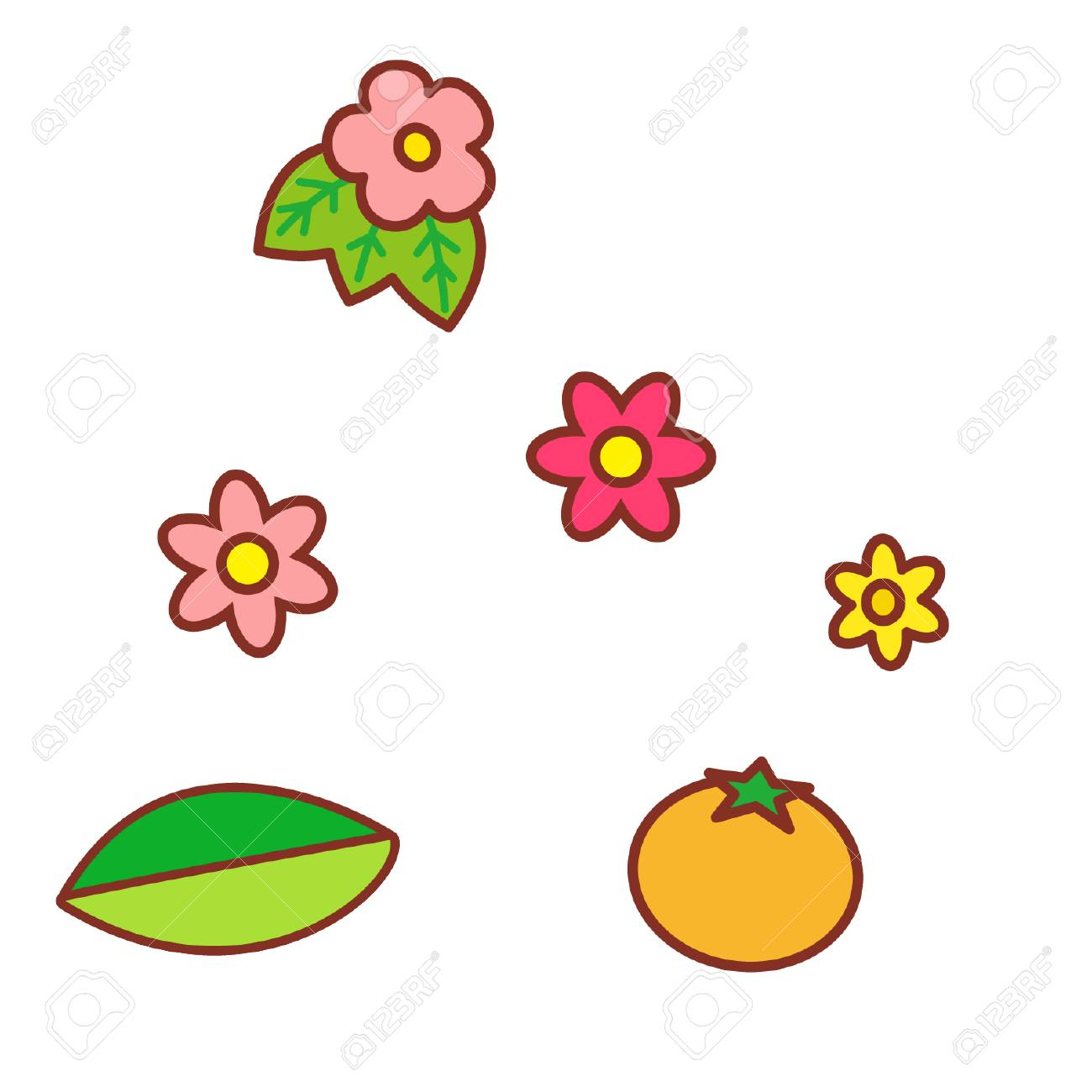 Cartoon Flowers And Fruit Royalty Free Cliparts Vectors And Stock