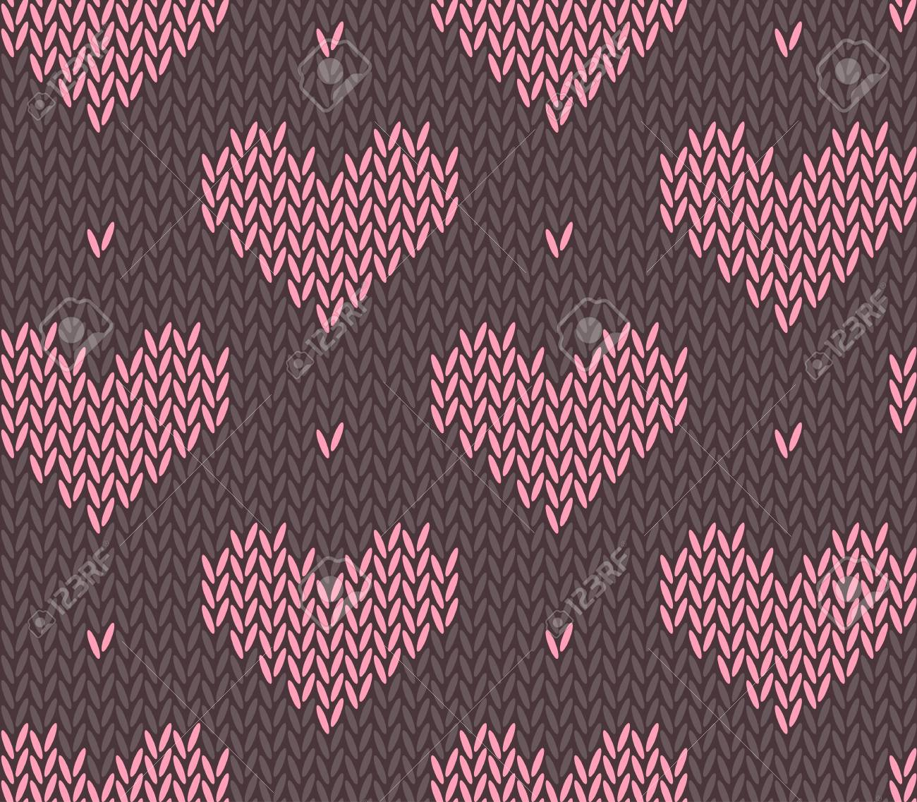 Saint Valentine\'s Day Seamless Knitting Pattern With Hearts Royalty ...