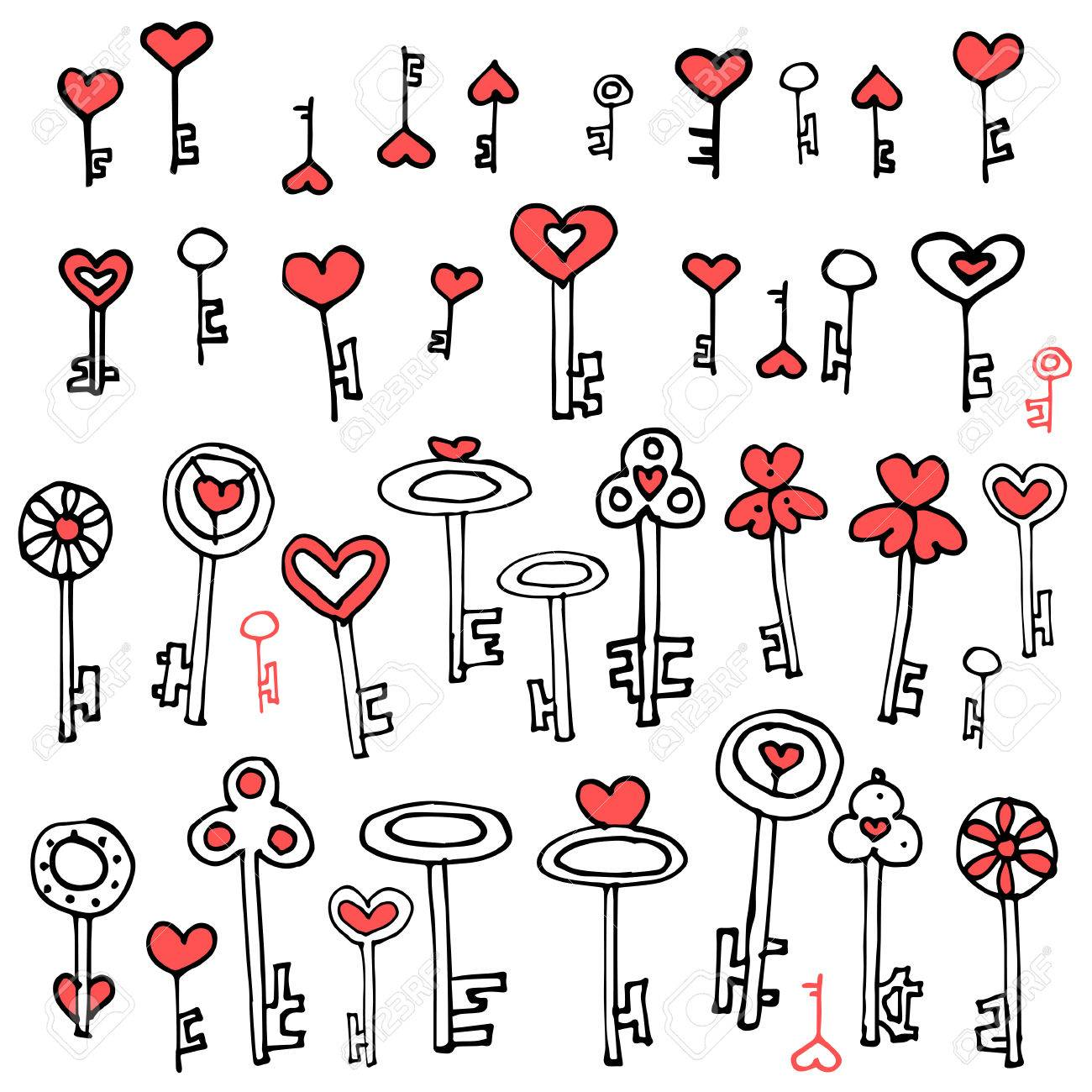 Claves de corazones juego de llaves del doodle del dibujo a mano jpg  1300x1300 Juego dibujo 528011addbd