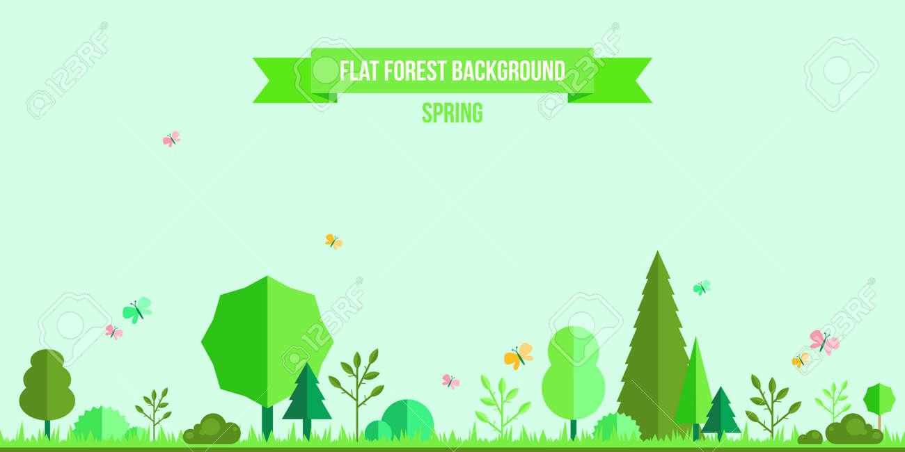 春の森のフラット背景あなたのデザインのシンプルでかわいい風景の