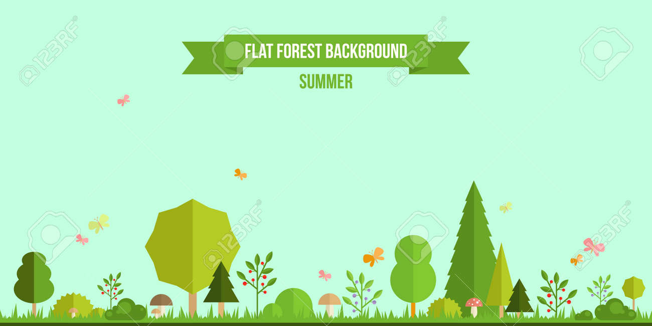 Summer forest flat background. Simple and cute landscape for your design Stock Vector - 36642313