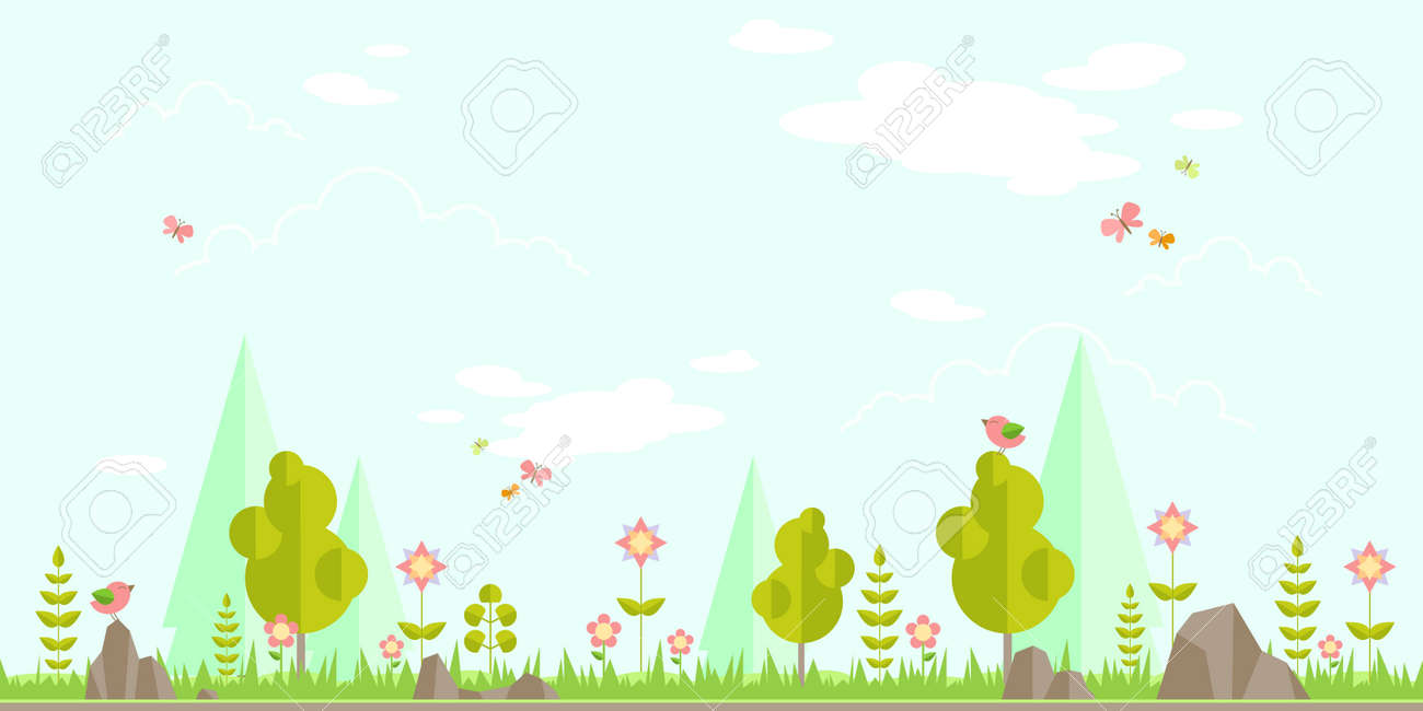 spring forest flat background simple and cute landscape for rh 123rf com