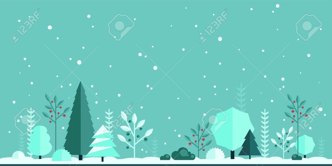 冬の森のフラット背景あなたのデザインのシンプルでかわいい風景の