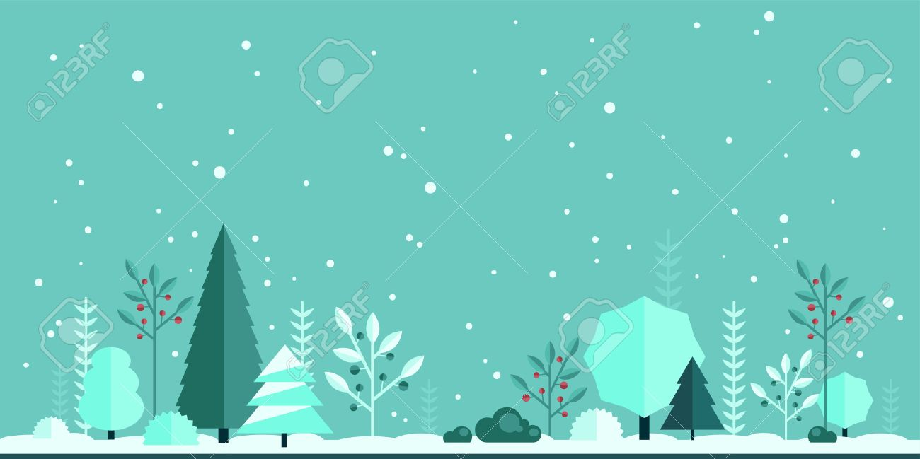 Winter Forest Flat Background Simple And Cute Landscape For