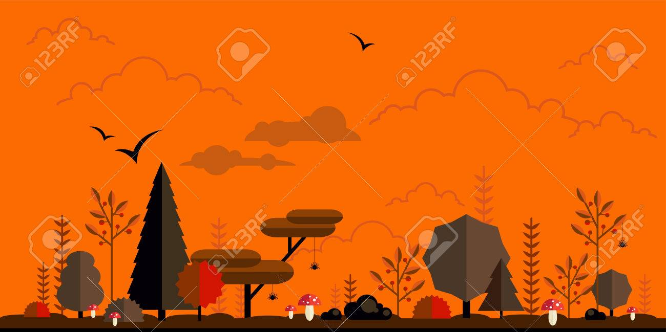 Halloween forest flat background. Simple and cute landscape for..
